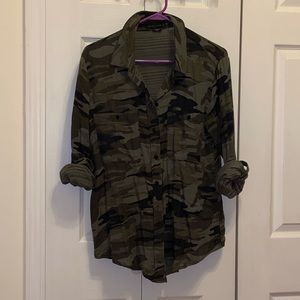 Sanctuary Boyfriend button-down top, camo pattern